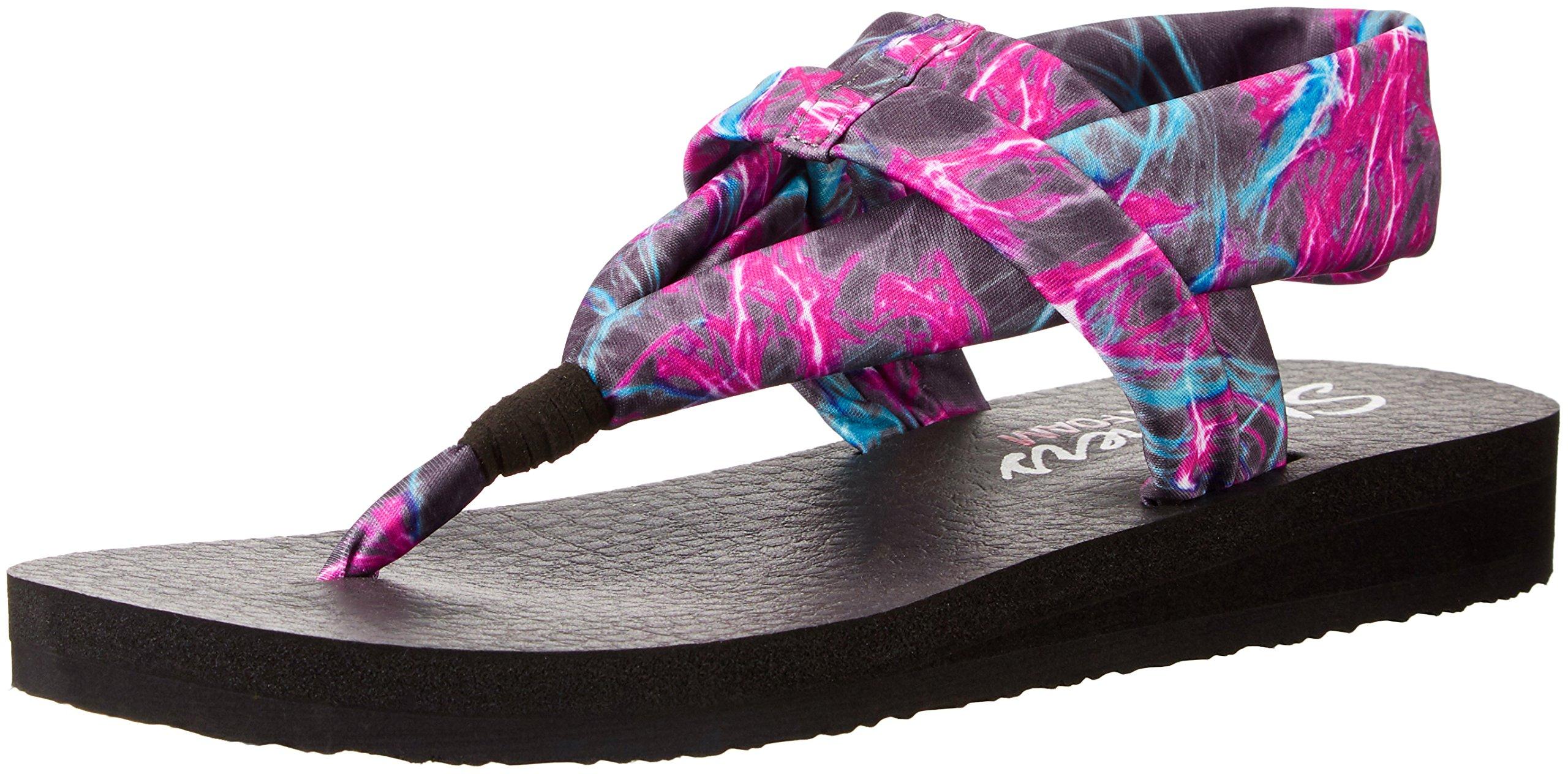 Skechers Cali Women's Meditation Slingback Yoga Flip-Flop,Black/Multi,9 M US