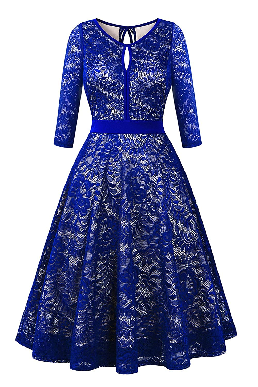 (3 4 Sleeve) Royal bluee BBX Lephsnt Womens Summer Dresses Sleeveless Pockets Casual Round Neck Swing TShirt Dress