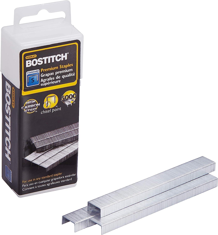 Bostitch Premium Standard Staples in Clear Plastic Box, 1/4 Inch Leg, 5, 000 Per Box (SB10) : General Purpose Staples : Office Products