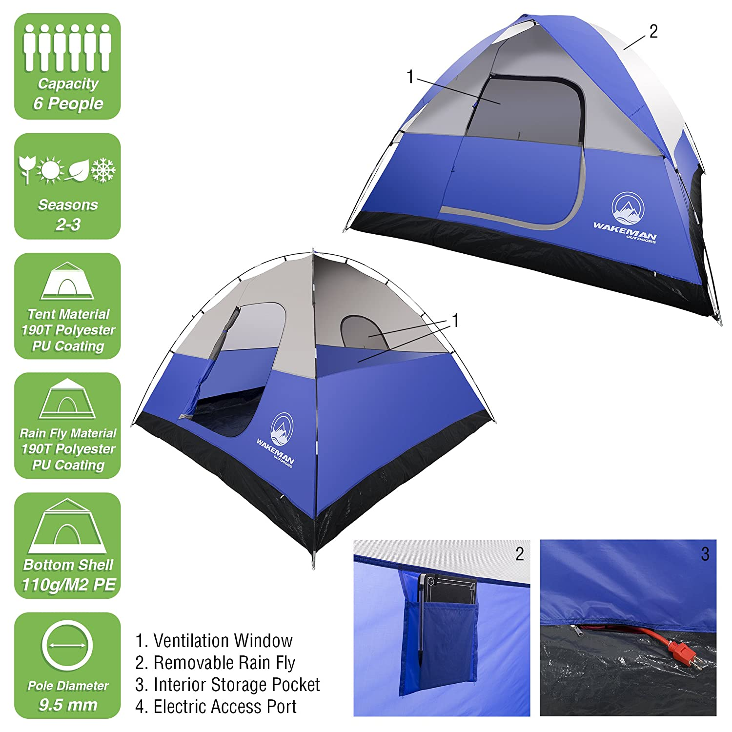 cc0c4ffab 6-Person Tent, Water Resistant Dome Tent for Camping with Removable Rain  Fly and Carry Bag, Rebel Bay 6 Person Tent by Wakeman Outdoors