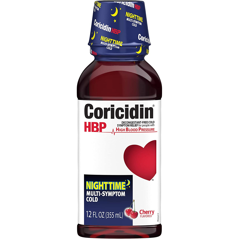 Coricidin HBP Nighttime Multi-Symptom Cold Liquid Cherry 12 oz