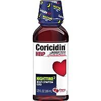 Coricidin HBP Nighttime Mult-Symptom Cold, 12 Fluid ounce bottles (Pack of 3), Cherry