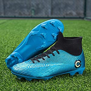 LCXAX Chaussures de Football Homme Foot Profession Athl/étisme Entrainement High Top Chaussures de Foot