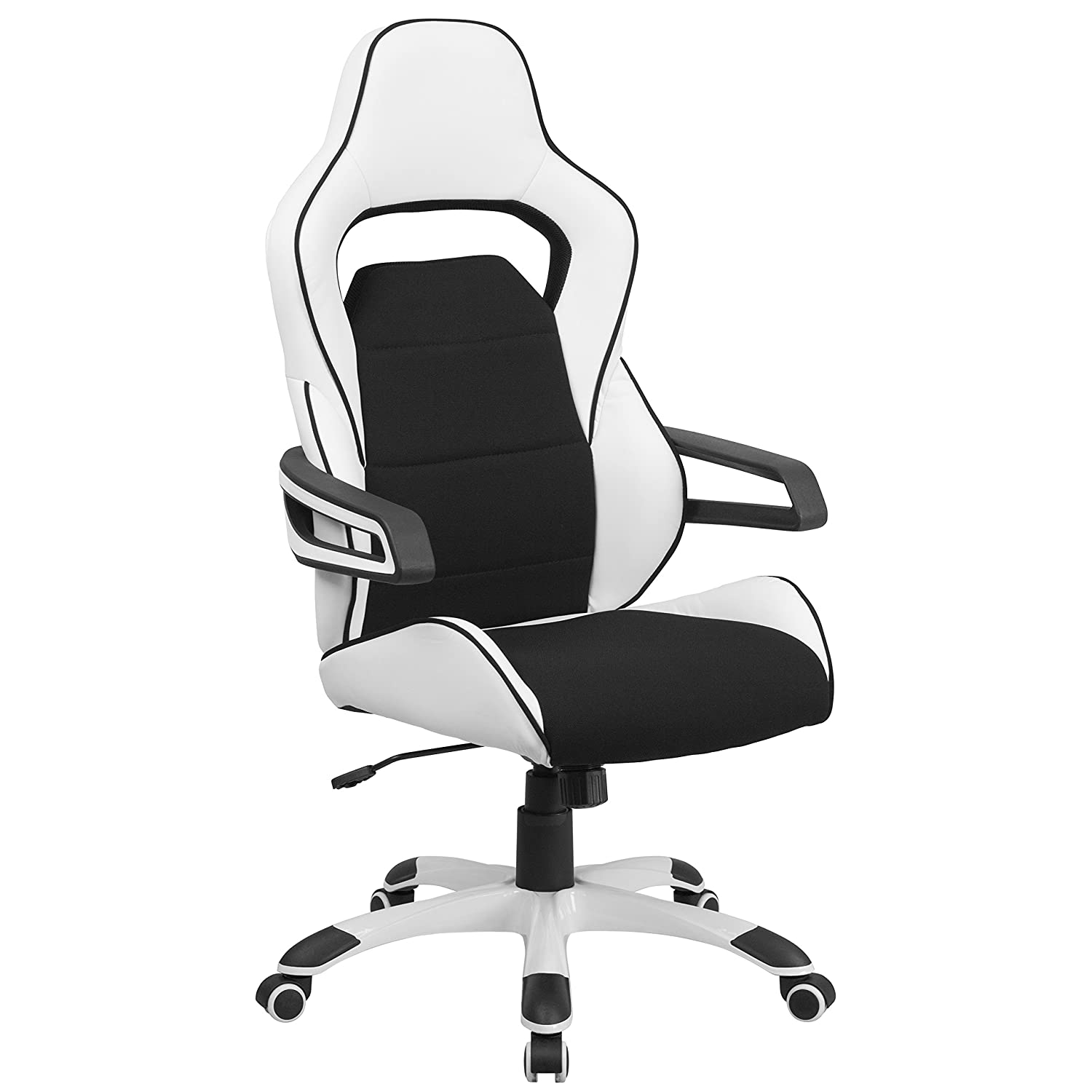 Flash Furniture High Back White Vinyl Executive Swivel Office Chair with Black Fabric Inserts and Arms