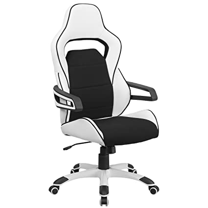 Flash Furniture High Back White Vinyl Executive Swivel Chair With Black  Fabric Inserts And Arms