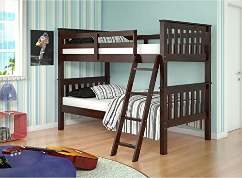 Donco Kids Mission Tilt Ladder Twin Bunk Bed Dark Cappuccino Cappuccino Finish