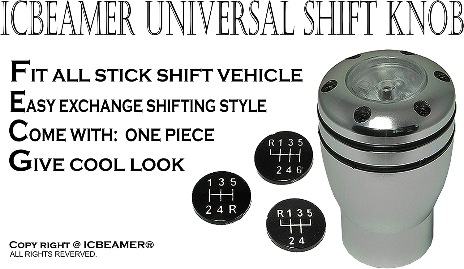 ICBEAMER Gear Stick Shifter Knobs Racing Aluminum Silver Manual Short Throw Shift Knob 5 6 Speed with White LED Light