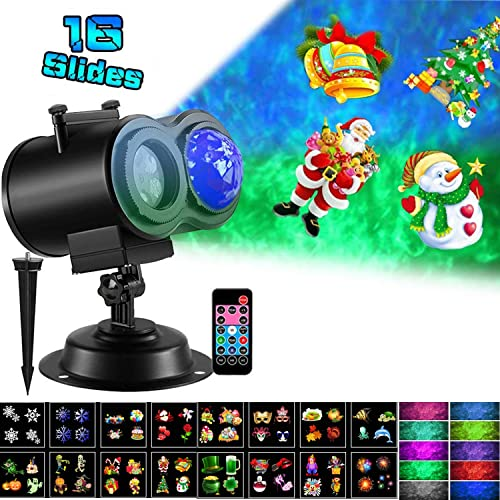 XISXI Ocean Wave Halloween Christmas Projector Lights 16 Slides 10 Colors 2-in-1 Moving Patterns with Ocean Wave LED Landscape Lights Waterproof Outdoor Indoor Xmas Theme Party Yard Garden Decorations