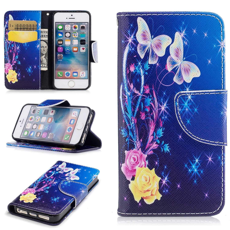 HCUI Compatible avec iPhone SE/iPhone 5 5s Coque Cuir Étui Wallet Housse, Portefeuille de Protection Coque avec Fonction Support Magnétique Pochette Antichoc Coque - Fleur bleu.