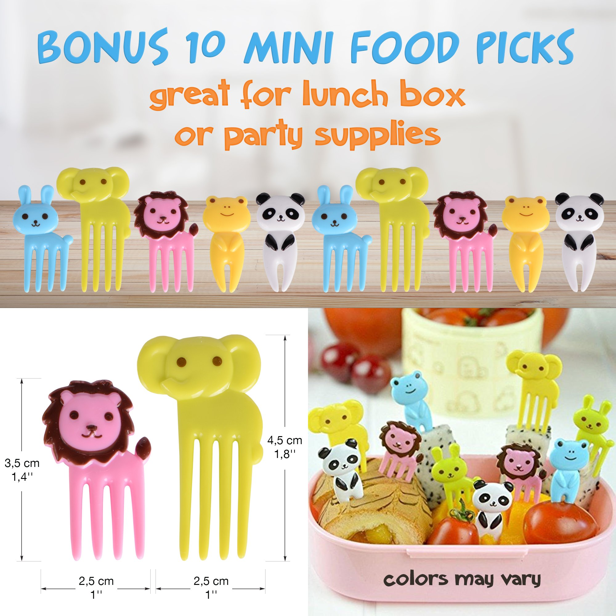 [20-Piece Set] Sandwich Cutters for Kids - 5 Sandwich Cutter Shapes, 5 Vegetable Cutters and FREE 10 Bento Decorations by GO FRESH (Image #7)
