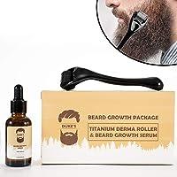 Derma Roller for Beard Growth + Beard Growth Serum - Stimulate Beard and Hair Growth - Derma Roller for Men - Amazing Beard Growth Kit