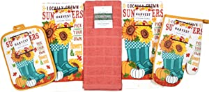 Autumn Sunflowers and Pumpkins Kitchen Towels and Pot Holder Set: Locally Grown Pick Your Own Flowers and Seeds with Cute Garden Boots (Be Thankful)