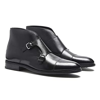 7c3075781b Amazon.com | Timberlux New York Mens Double Monk Strap Boots, Black Dress  Shoes for Men | Boots