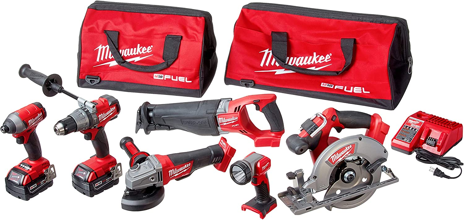 Milwaukee 2896-26 M18 Fuel 18-Volt Lithium-Ion Brushless Cordless Combo Kit 6-Tool with 2 5.0 Ah Batteries, 1 Charger, 2 Tool Bags