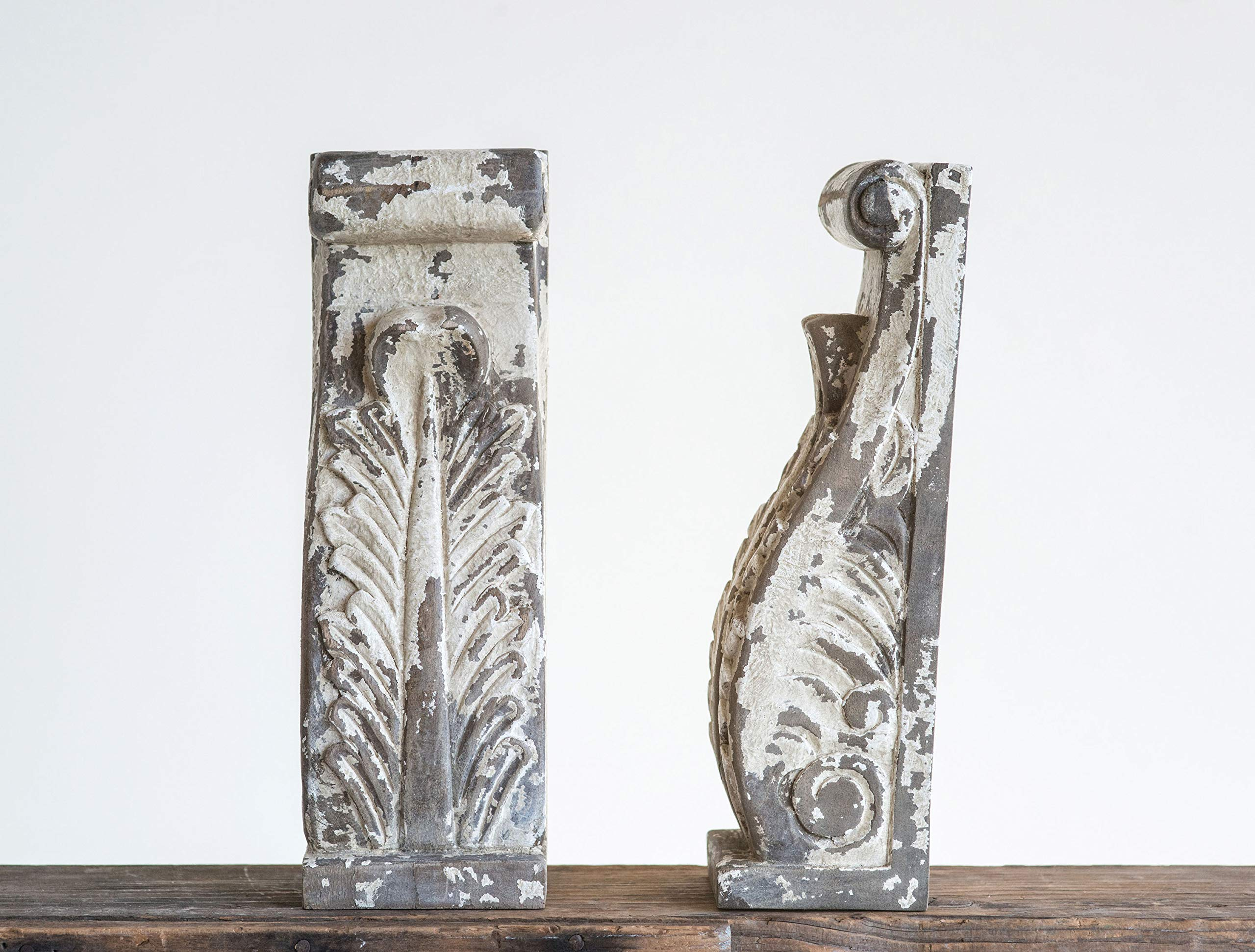 Creative Co-op Heavily Distressed Hand Carved Mango Bookends (Set of 2 Pieces) Wood Corbels, Grey by Creative Co-op