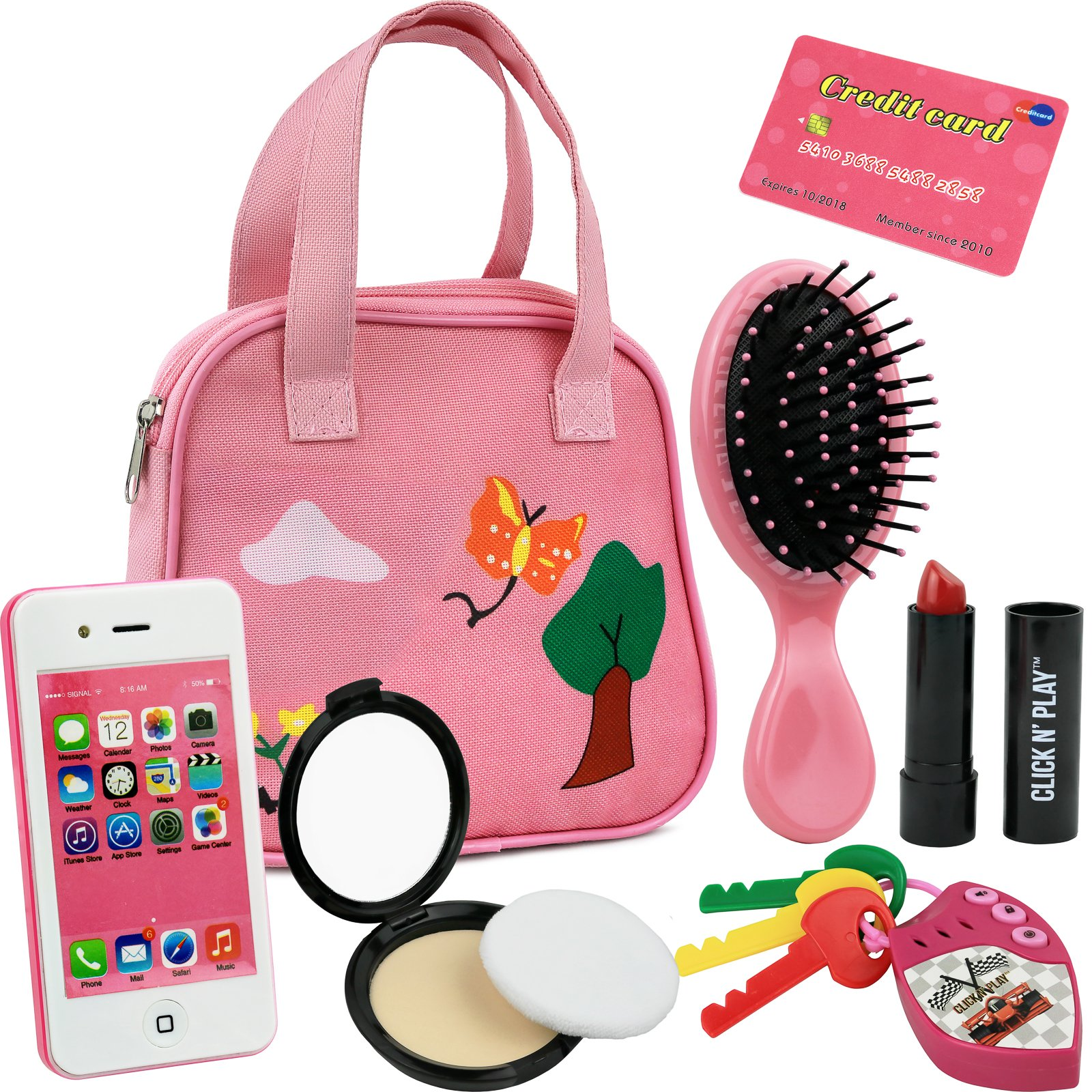 Click N' Play 8 Piece Girls Pretend Play Purse, Including a Smartphone, Car Keys, Credit Card, Lipstick, Lights up Make Real Life Sounds