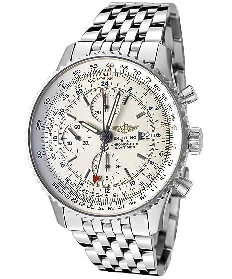 Breitling Navitimer del hombres mecánico automático GMT Chrono plata Dial Acero inoxidable