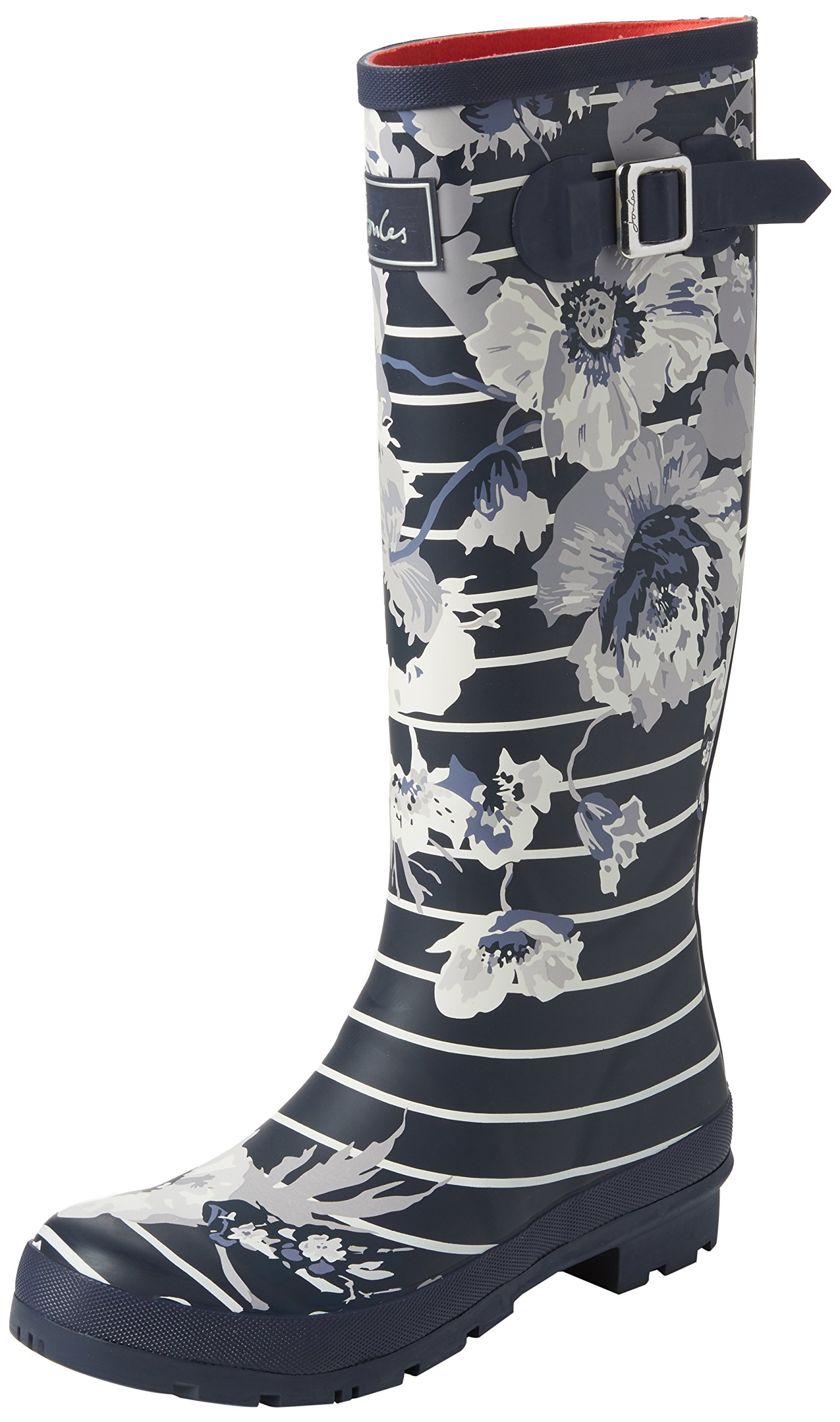 Joules Tall Welly Print French Navy Posy Stripe Womens Rain Boots Size 8M