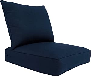 BOSSIMA Outdoor Patio Cushions Deep Seat Chair Cushions Sunbrella Furniture Cushions Spectrum Indigo Navy Blue