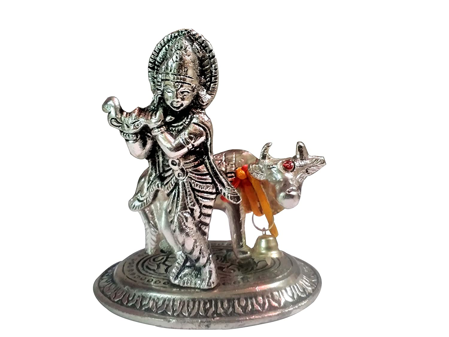 Buy Ankita Gemstones White Metal God Krishna Idol With Cow