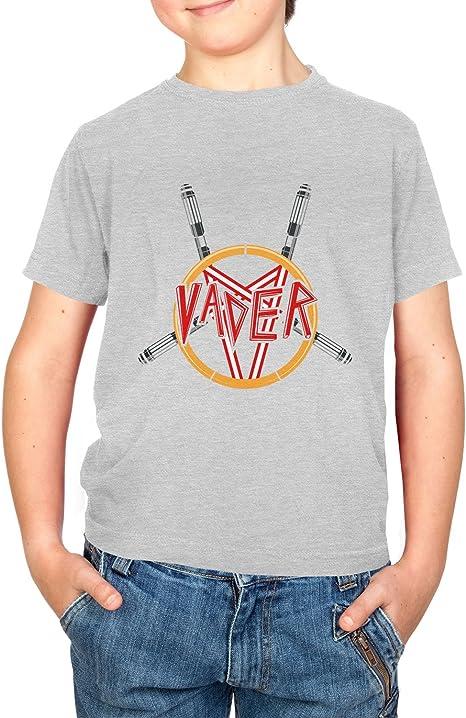 Nerdo Heavy Metal Vader Camiseta, Infantil, Gris, Large: Amazon.es: Deportes y aire libre