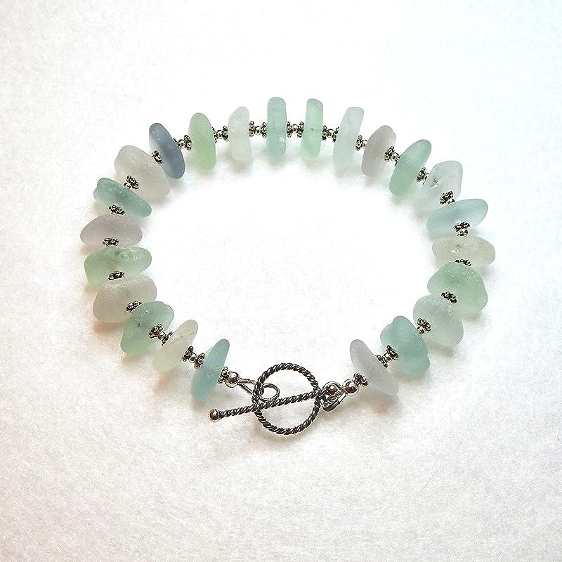 Sea Glass BraceletGenuine Sea GlassSea Glass Charm BraceletAqua Cobalt Blue Beach Glass BraceletNautical Bracelet