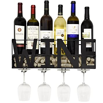 Amazoncom Gift Boutique Black Metal Wall Mounted Wine Rack And