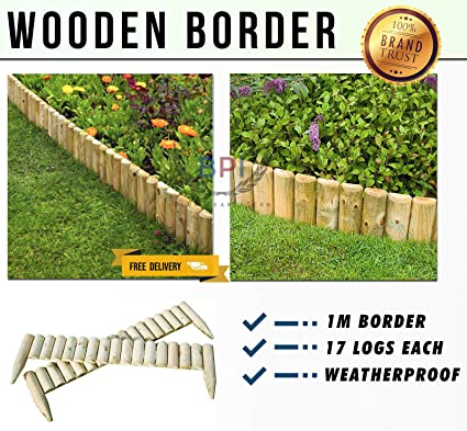 Wooden Log Roll Border Edging Fence Pressure Treated Garden Fixed