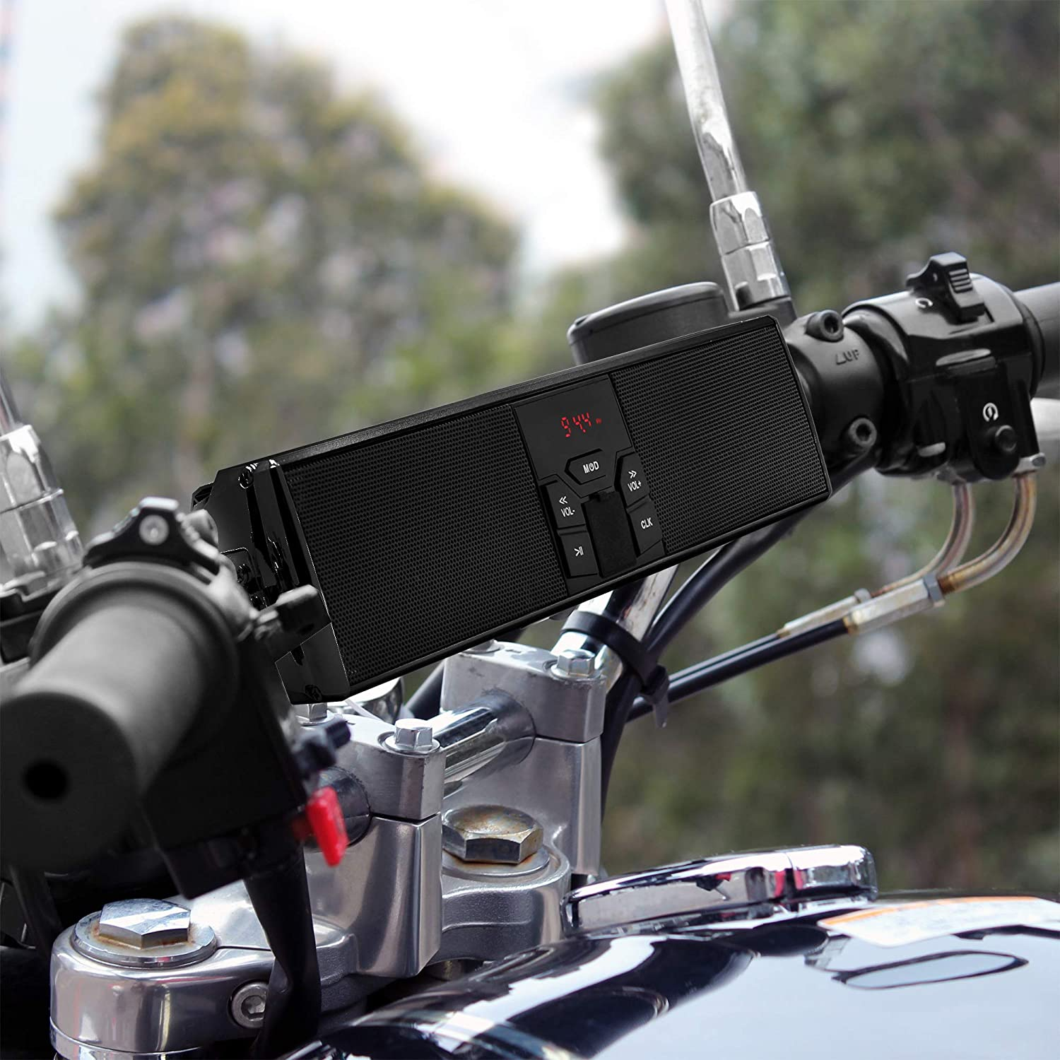 GoldenHawk RE9-X Waterproof Bluetooth Wireless Motorcycle Stereo Speakers 7//8-1.25 in USB AUX-in Handlebar Mount MP3 Music Player Audio Amplifier System Scooter Bike ATV UTV FM Radio