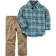 Carter's Baby Boy 2-Piece Button-Front Shirt & Canvas Pant Set (3 Months, Blue/Khaki)