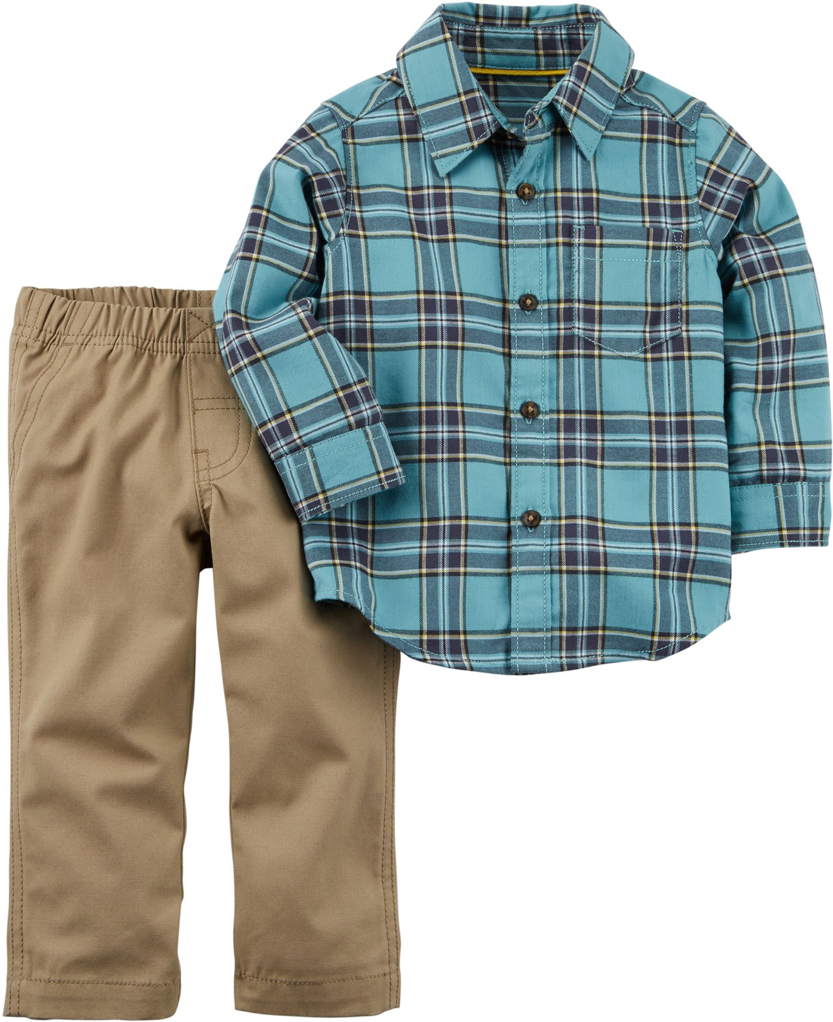 Carter's Baby Boys 2-Piece Button-Front Shirt Pant Set (12 Months)