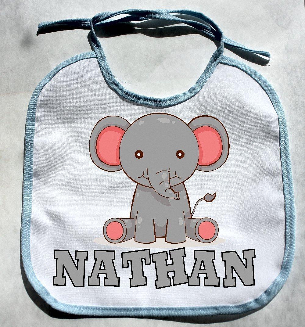PERSONALIZED CUSTOM NAME Elephant Jungle Zoo Animals Baby Boy Bib Shower Gift bibs