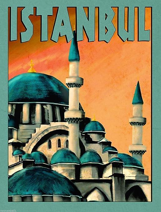 Istanbul Turkey Turkish Vintage Travel Art Advertisement Poster