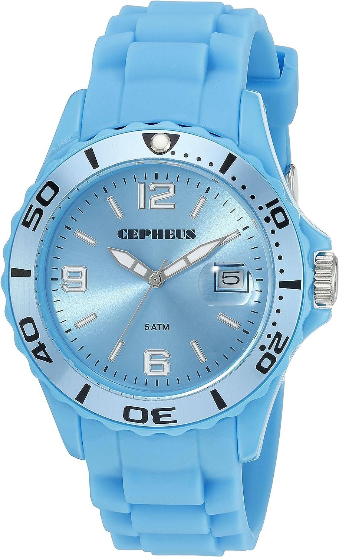 CEPHEUS CP603-090D-1 - Reloj analógico de Cuarzo para Hombre, Correa de Silicona Color Verde