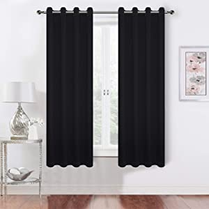 QiHe Black Blackout Curtains - Window Grommet Panels Thermal Insulated Room Darkening Drapes for Livingroom/Kitchen/Bedroom/Home(52x54 Inch ,2 Panels)