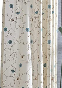 VOGOL 2 Panels Grommet Curtains Simple Style Embroidered Elegant Window Drapes for Living Room Bedroom, 52x84, Blue Floral in White