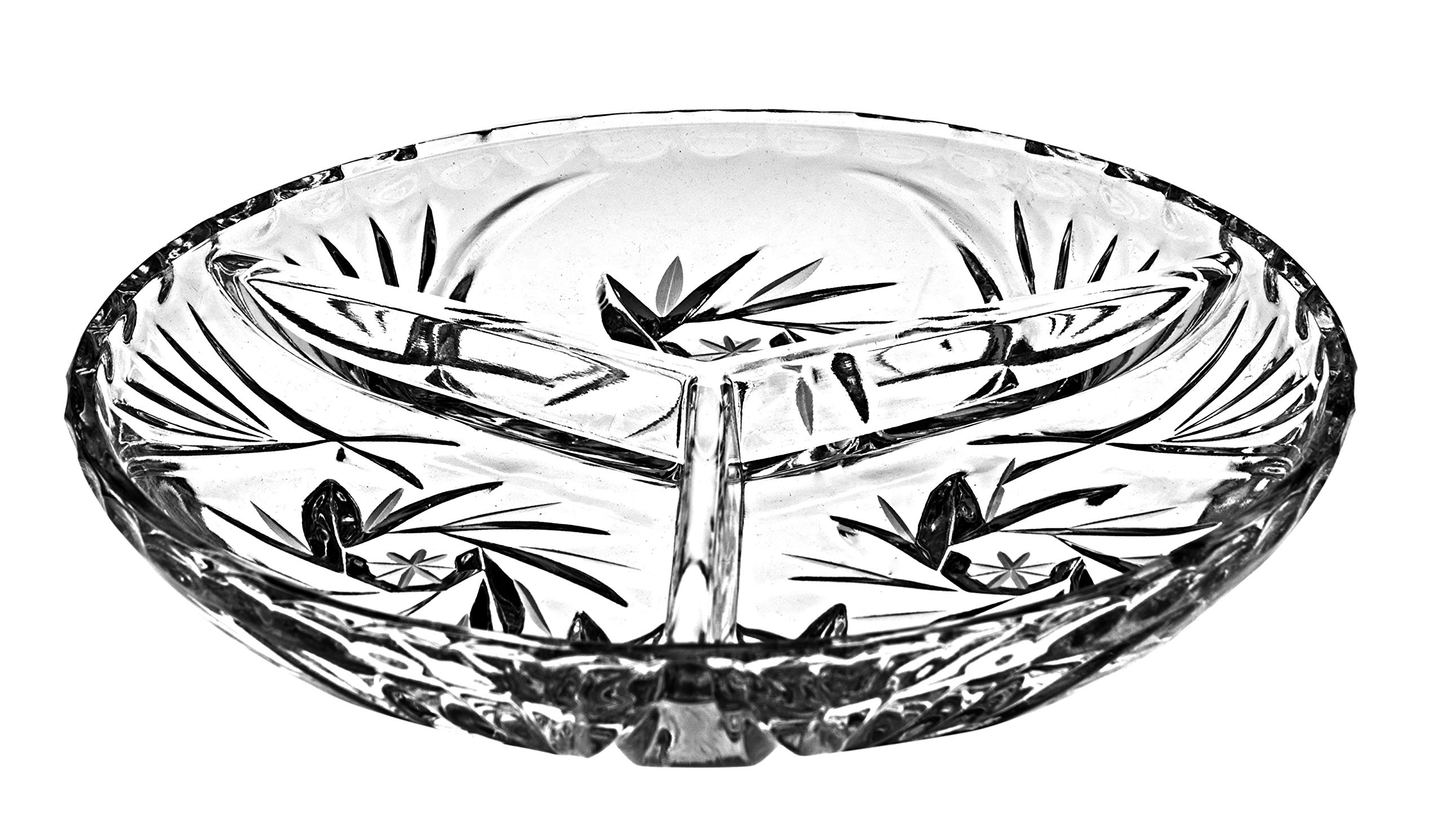 Barski - European Quality - 6'' Diameter - 3 Sectional Tray - Relish Dish - Hand Cut Crystal - Good for Nuts or Candies - Uniquely Designed - Made in Europe