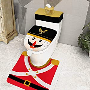 TURNMEON 4 Pieces Christmas Toilet Seat Cover Decorations, 3D Beard Nutcrackers Funny Christmas Toilet Seat Lid Cover and Rug Set Christmas Decoration Bathroom Home Indoor Xmas Decor