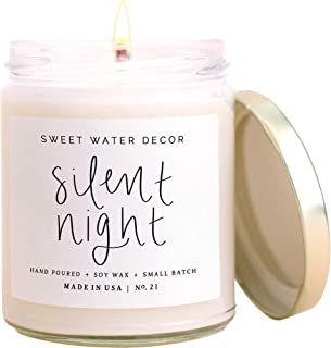 product image for Sweet Water Decor Silent Night Candle | Woodsy, Pine and Birch, Winter Scented Soy Wax Candle for Home | 9oz Clear Glass Jar, 40 Hour Burn Time, Made in the USA