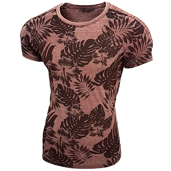 RUSTY NEAL Herren Allover Blumen Print T-Shirt Bordo/Grau 15068 Gr. S M L