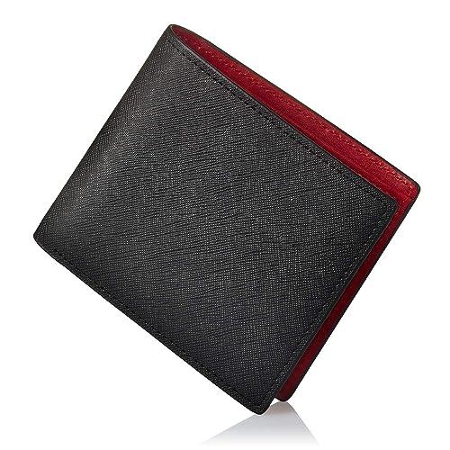 GLEVIO 二つ折り財布 ブラック×レッド