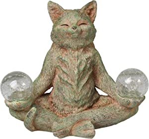 WHAT ON EARTH Meditating Cat Garden Sculpture - Lighted Solar Powered Lawn Ornament, Yard Art
