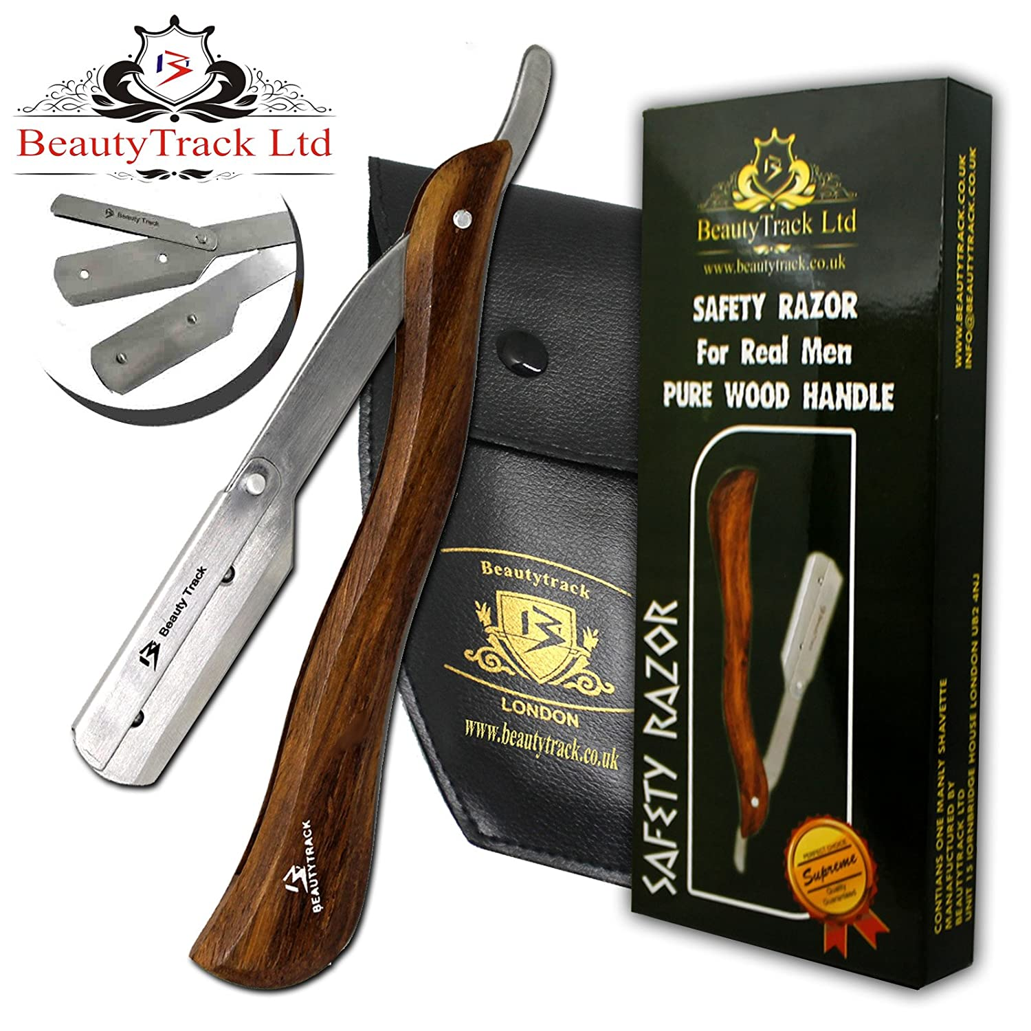 BeautyTrack® Pure Wood Straight Wet Shaving Cut throat Razor - Barber Razors New Improved Quality - Extra Long Handle - Limited Edition