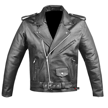 Amazon Com Men S Classic Leather Motorcycle Jacket Biker Style