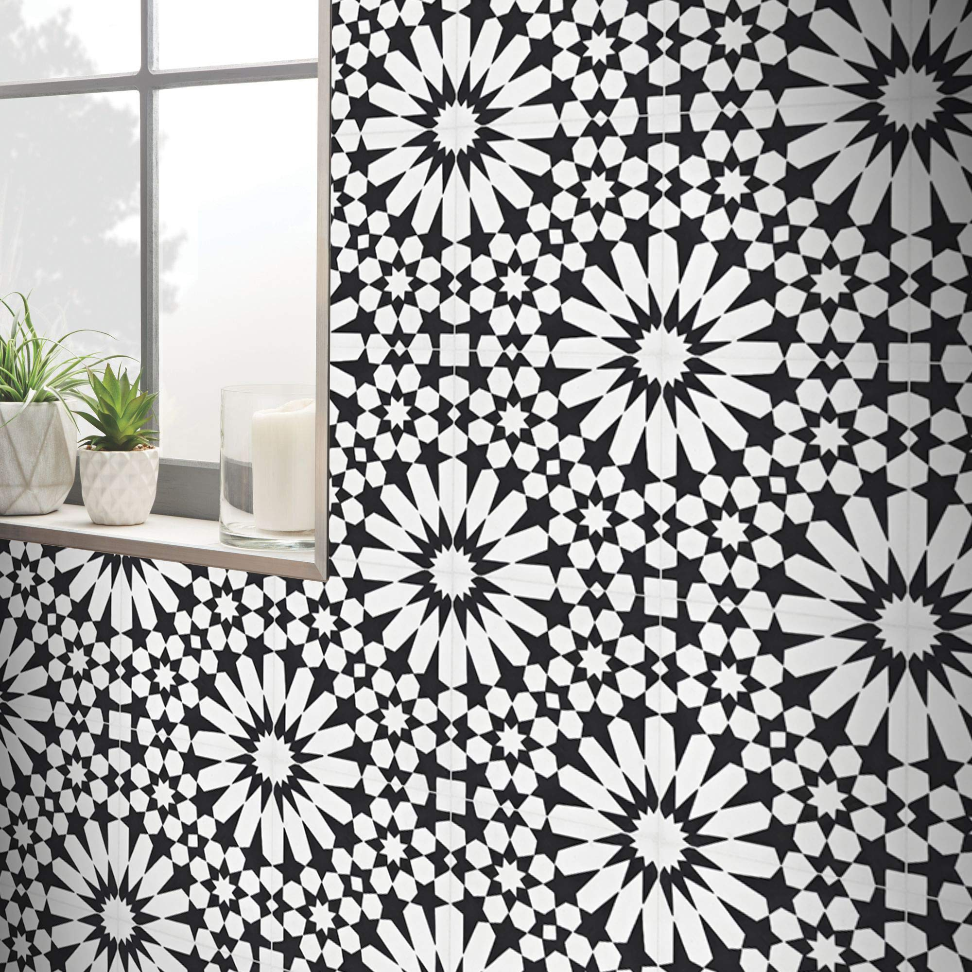 Moroccan Mosaic & Tile House CTP09-05 Agdal Handmade Cement Tile in Black and White 8''x8'',