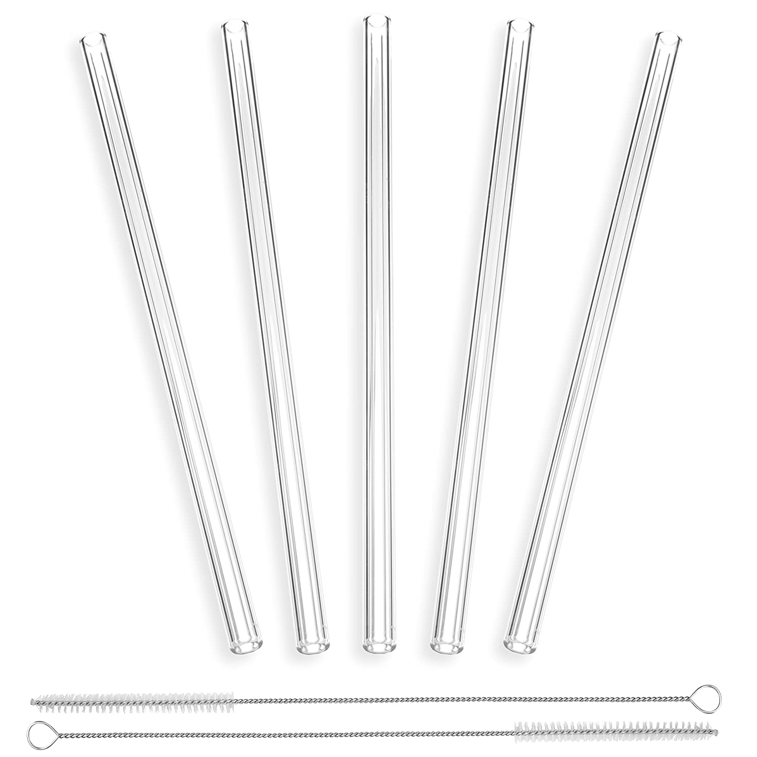 Glass Drinking Straws Straight StrawGrace Handmade Glass Straws - 23 cm x 10 mm Reusable Ideal for Smoothie etc Set of 5 with 2 Brushes Healthy Free of BPA independently tested in DE