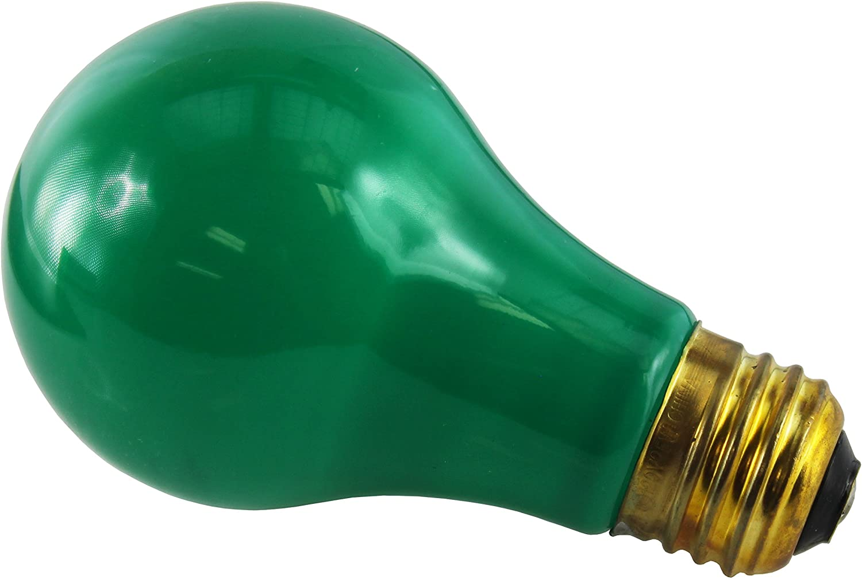Ceramic Green 25 Watt A19 Light Bulb Bulbrite 106425-25A//CG