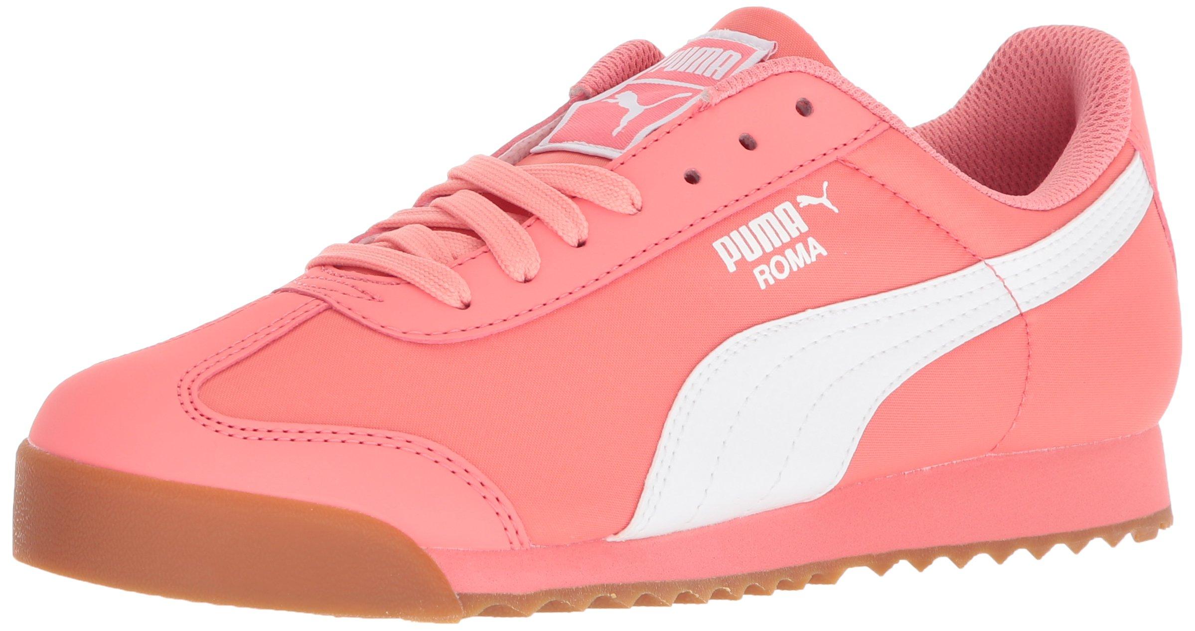 PUMA Unisex-Kids Roma Basic Summer Sneaker, Shell Pink White, 1 M US Little Kid