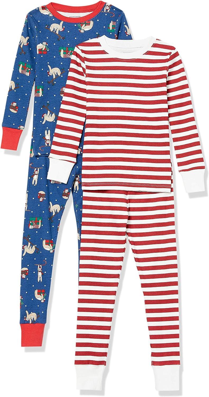 Amazon Essentials Boys' Snug-fit Cotton Pajamas Sleepwear Set