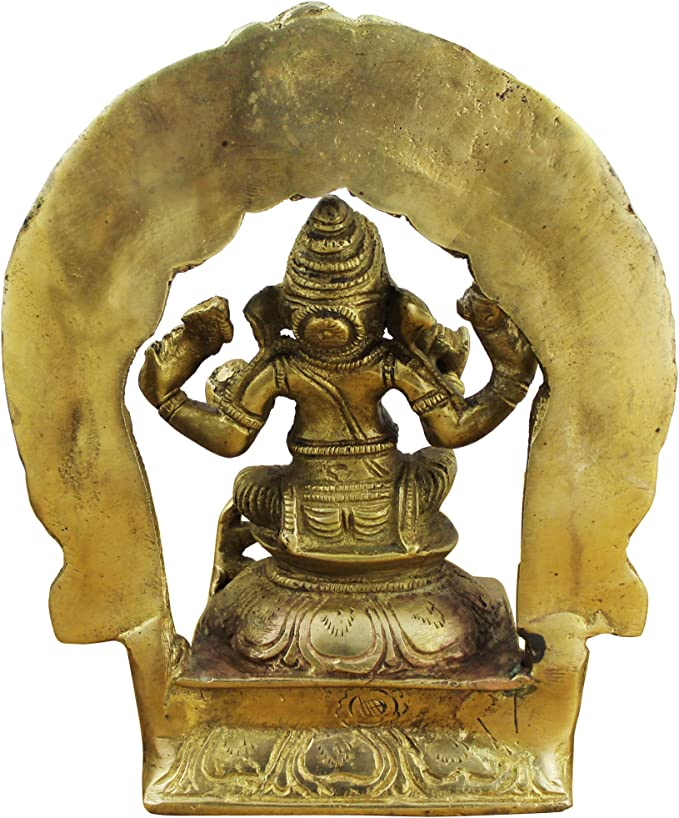 15,2 cm Statua in Ottone Indiano di Ganesha Dio Seduto su Una Sedia a Dondolo e leggendo Un Libro